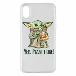 Чехол для iPhone X/Xs Yoda and pizza