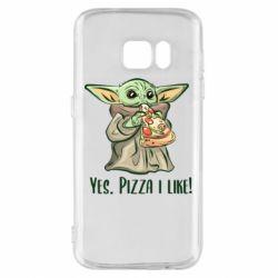 Чехол для Samsung S7 Yoda and pizza