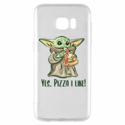 Чехол для Samsung S7 EDGE Yoda and pizza