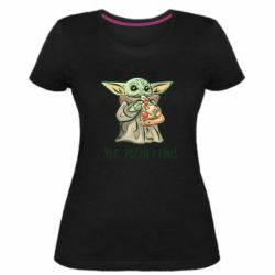 Женская стрейчевая футболка Yoda and pizza