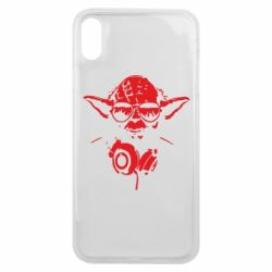 Чехол для iPhone Xs Max Yoda в наушниках