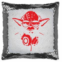 Подушка-хамелеон Yoda в наушниках
