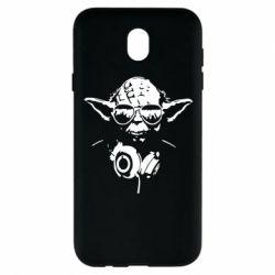 Чехол для Samsung J7 2017 Yoda в наушниках