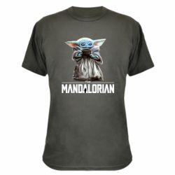 Камуфляжная футболка Yoda with a cup