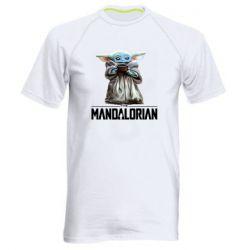 Мужская спортивная футболка Yoda with a cup