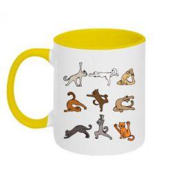 Кружка двоколірна 320ml Yoga cats - FatLine