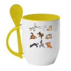 Кружка з керамічною ложкою Yoga cats - FatLine