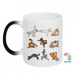 Кружка-хамелеон Yoga cats - FatLine
