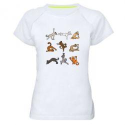Жіноча спортивна футболка Yoga cats - FatLine