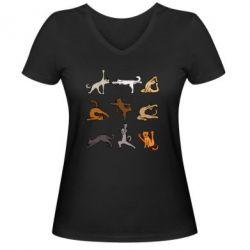 Жіноча футболка з V-подібним вирізом Yoga cats - FatLine
