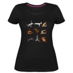 Жіноча стрейчева футболка Yoga cats - FatLine