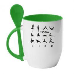 Купить Кружка с керамической ложкой Йога life, FatLine
