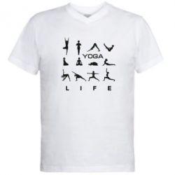 Мужская футболка  с V-образным вырезом Йога life
