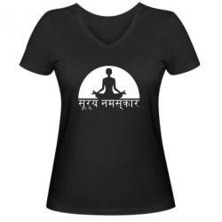 Женская футболка с V-образным вырезом Йога - FatLine