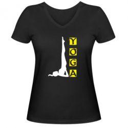 Женская футболка с V-образным вырезом Yoga - FatLine