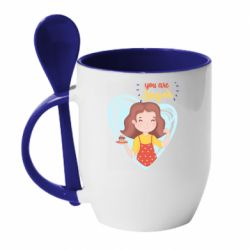 Кружка з керамічною ложкою You are super girl