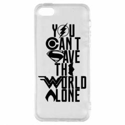 Купить Лига справедливости, Чехол для iPhone5/5S/SE You cant save the world alone, FatLine