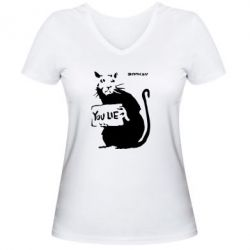 Женская футболка с V-образным вырезом You Lie Bancsy - FatLine