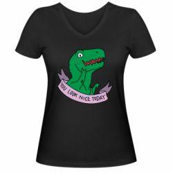 Жіноча футболка з V-подібним вирізом You look nice today