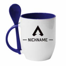 Кружка с керамической ложкой Your NickName English only