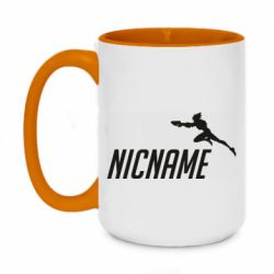Кружка двухцветная 420ml Your Nickname Overwatch and jump Tracer