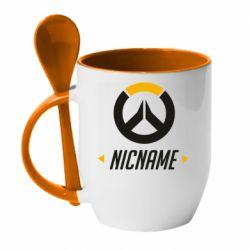 Кружка с керамической ложкой Your Nickname Overwatch