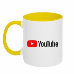 Кружка двухцветная 320ml Youtube logotype