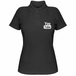 Жіноча футболка поло Youtube vertical logo