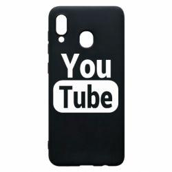 Чохол для Samsung A20 Youtube vertical logo