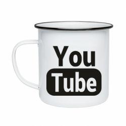 Кружка емальована Youtube vertical logo