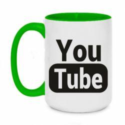 Кружка двоколірна 420ml Youtube vertical logo