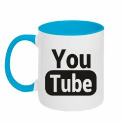 Кружка двоколірна 320ml Youtube vertical logo