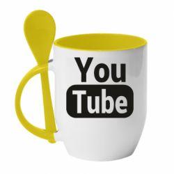 Кружка з керамічною ложкою Youtube vertical logo