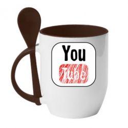 Кружка з керамічною ложкою YouTube