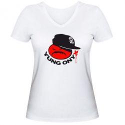 Женская футболка с V-образным вырезом Yung ONYX - FatLine