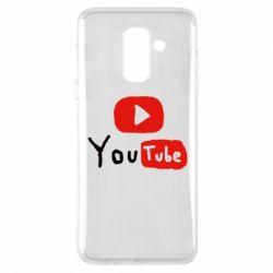 Купить YouTube, Чехол для Samsung A6+ 2018 Ютуб лого, FatLine