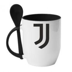 Кружка с керамической ложкой Ювентус