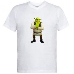 Мужская футболка  с V-образным вырезом Задумчивый Шрек - FatLine