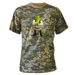 Камуфляжная футболка Задумчивый Шрек - FatLine
