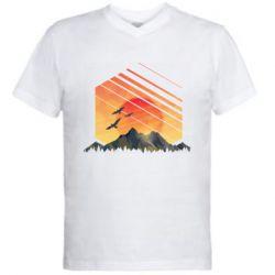 Чоловіча футболка з V-подібним вирізом Захід Геометрія