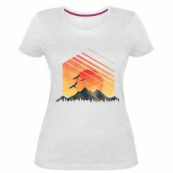 Жіноча стрейчева футболка Захід Геометрія