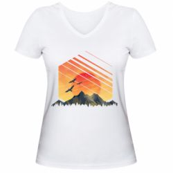 Жіноча футболка з V-подібним вирізом Захід Геометрія