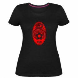 Жіноча стрейчева футболка Зоря Луганськ лого