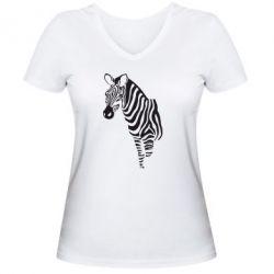 Женская футболка с V-образным вырезом Зебра - FatLine
