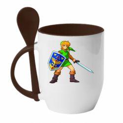 Кружка с керамической ложкой Zelda