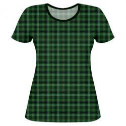 Жіноча 3D футболка Зелений в клітку - FatLine