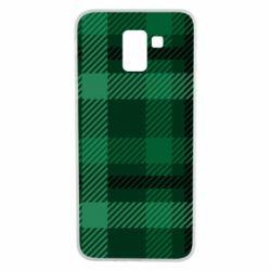 Чохол для Samsung J6 Зелений в клітку - FatLine
