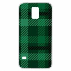 Чохол для Samsung S5 Зелений в клітку - FatLine