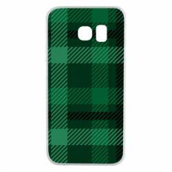 Чохол для Samsung S6 EDGE Зелений в клітку - FatLine