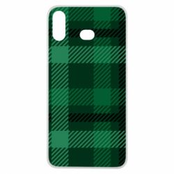 Чохол для Samsung A6s Зелений в клітку - FatLine